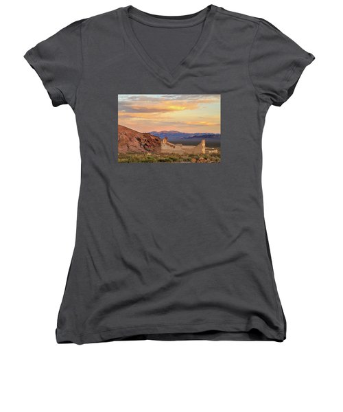 Women's V-Neck T-Shirt (Junior Cut) featuring the photograph Rhyolite Bank At Sunset by James Eddy