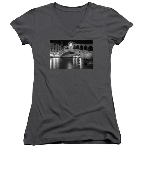 Rialto Bridge Black And White  Women's V-Neck