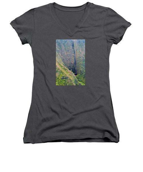 Women's V-Neck T-Shirt (Junior Cut) featuring the photograph Ribbon Falls On The Napali Coast by Brenda Pressnall