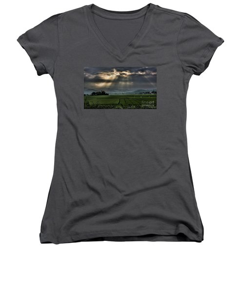 Rice Fields Rays Light  Women's V-Neck T-Shirt (Junior Cut) by Chuck Kuhn