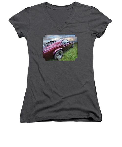 Rich Cherry - '69 Mustang Women's V-Neck T-Shirt (Junior Cut) by Gill Billington