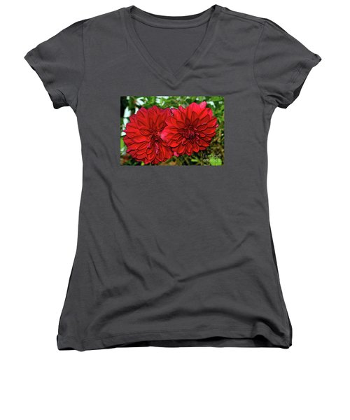 Women's V-Neck T-Shirt (Junior Cut) featuring the photograph Rich Red Dahlias By Kaye Menner by Kaye Menner