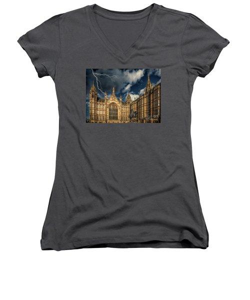 Women's V-Neck T-Shirt (Junior Cut) featuring the photograph Richard The Lionheart by Adrian Evans