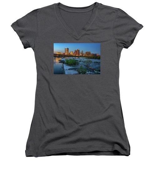 Women's V-Neck T-Shirt (Junior Cut) featuring the photograph Richmond Twilight by Rick Berk