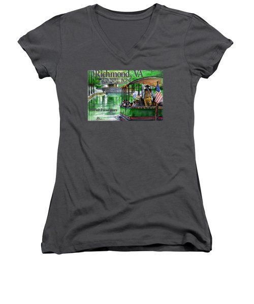Richmond Va Canal Boat Women's V-Neck (Athletic Fit)