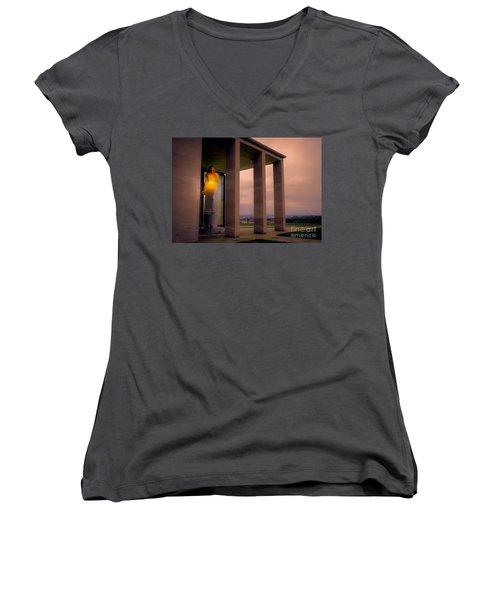Women's V-Neck T-Shirt (Junior Cut) featuring the photograph Richmond Virginia War Memorial by Melissa Messick