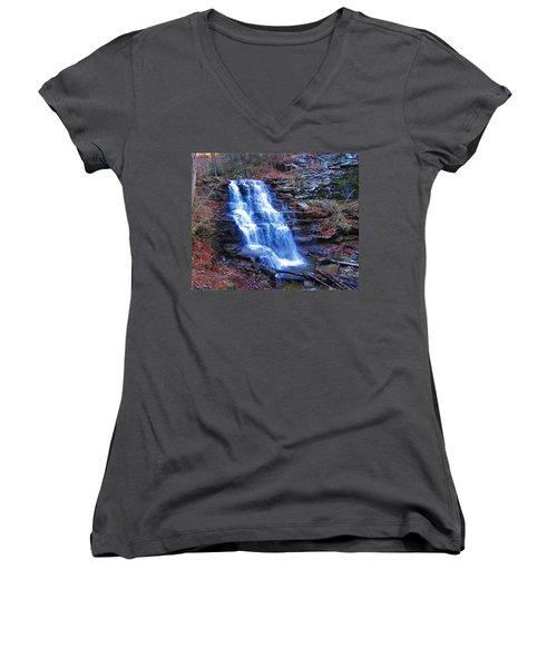 Ricketts Glen Waterfall 3941  Women's V-Neck