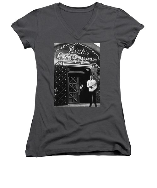 Ricks Cafe Americain Casablanca 1942 Women's V-Neck T-Shirt (Junior Cut) by David Lee Guss