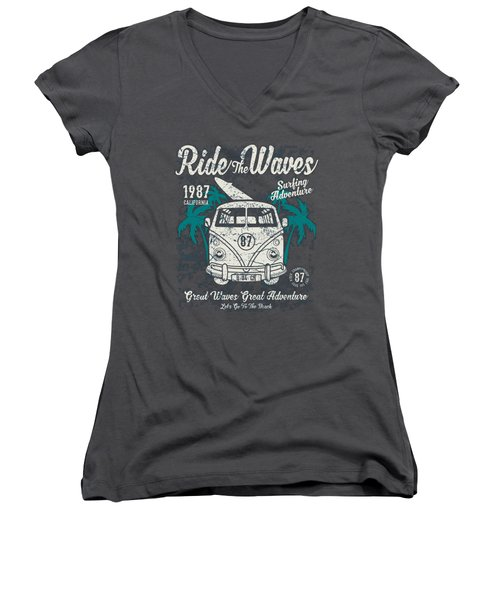 Ride The Waves Women's V-Neck T-Shirt