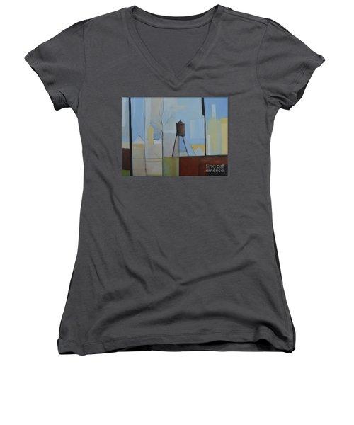 Ridgefield Women's V-Neck T-Shirt (Junior Cut) by Ron Erickson