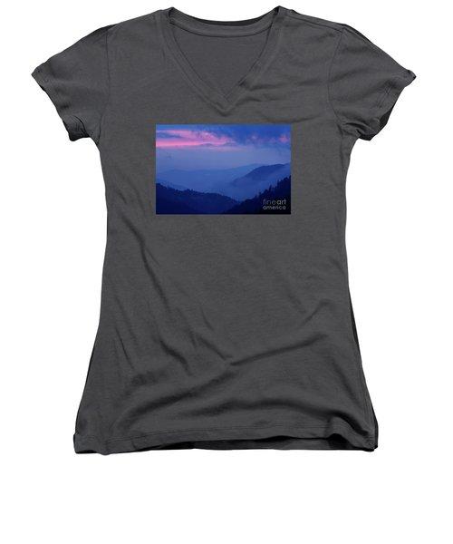 Women's V-Neck T-Shirt (Junior Cut) featuring the photograph Ridges - D000023 by Daniel Dempster