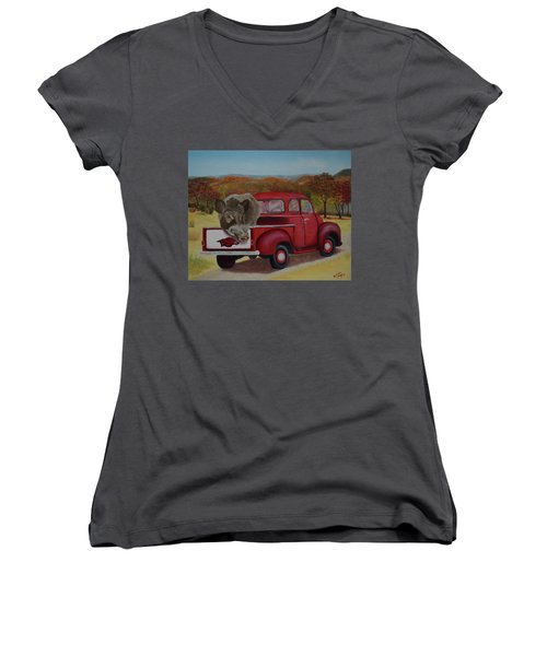 Ridin' With Razorbacks Women's V-Neck T-Shirt (Junior Cut) by Belinda Nagy