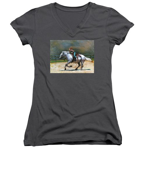 Riding Dollar Women's V-Neck (Athletic Fit)