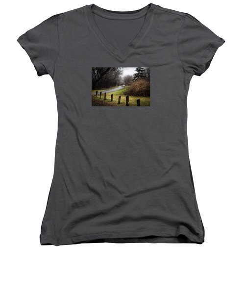 Riding Into The Fog Women's V-Neck T-Shirt (Junior Cut) by Celso Bressan
