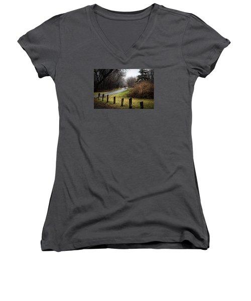 Riding Into The Fog Women's V-Neck T-Shirt