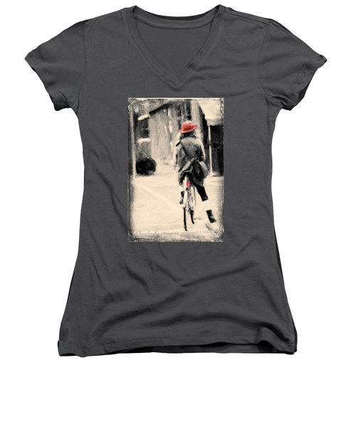 Riding My Bicycle In A Red Hat Women's V-Neck