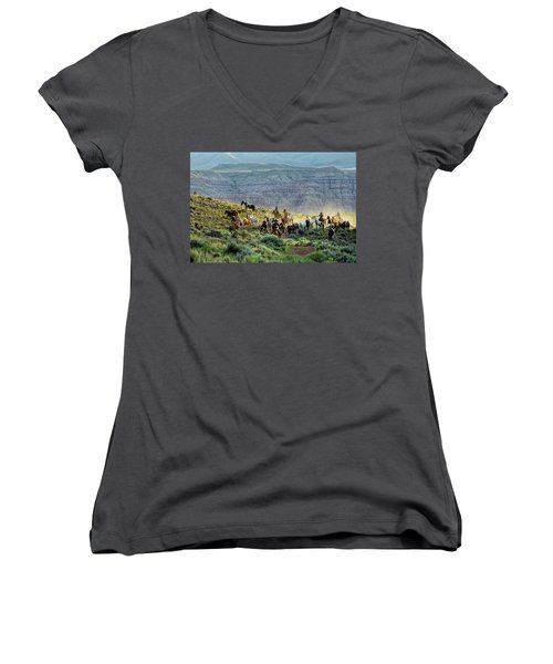 Riding Out Of The Sunrise Women's V-Neck