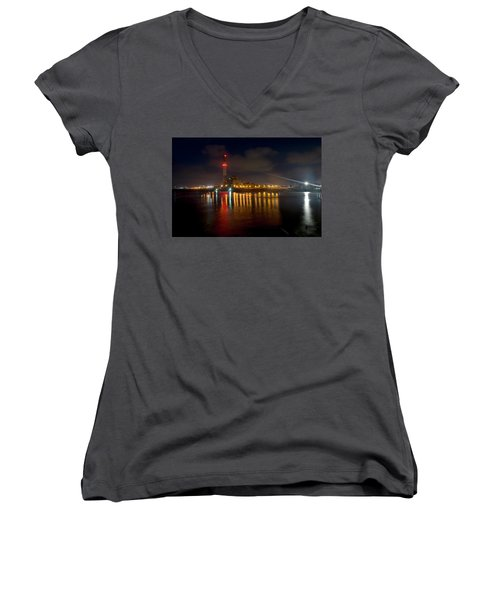 Women's V-Neck T-Shirt featuring the photograph Riding Station, Tel Aviv, Water Side by Dubi Roman
