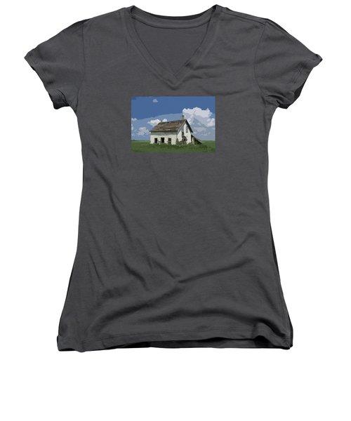 Riel Period Homestead Women's V-Neck T-Shirt (Junior Cut) by Ellery Russell