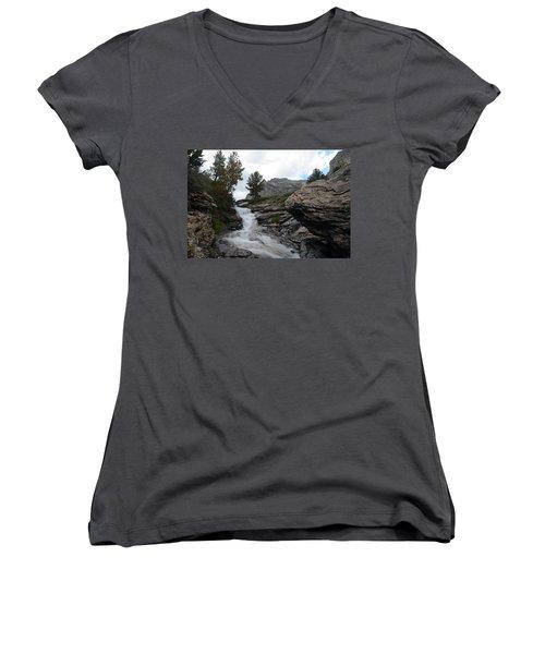Women's V-Neck T-Shirt (Junior Cut) featuring the photograph Right Fork Waterfall by Jenessa Rahn