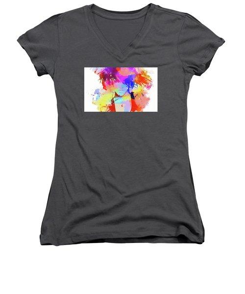 Rihanna Paint Splatter Women's V-Neck T-Shirt (Junior Cut) by Dan Sproul