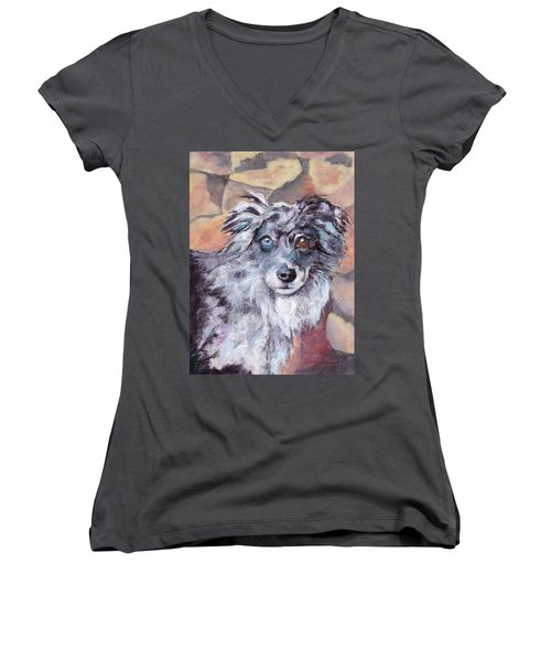 Women's V-Neck T-Shirt (Junior Cut) featuring the painting Riley by Julie Maas