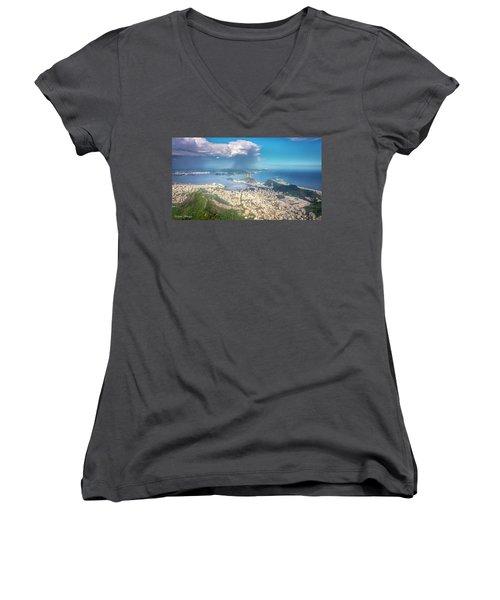 Rio De Janeiro Women's V-Neck T-Shirt (Junior Cut) by Andrew Matwijec