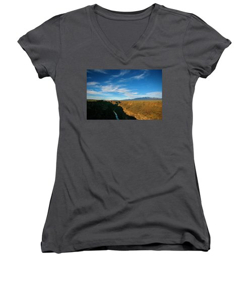 Women's V-Neck T-Shirt (Junior Cut) featuring the photograph Rio Grande Gorge Nm by Marilyn Hunt