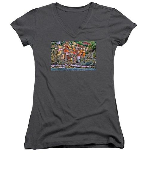 Women's V-Neck T-Shirt (Junior Cut) featuring the photograph Riomaggiore by Allen Beatty