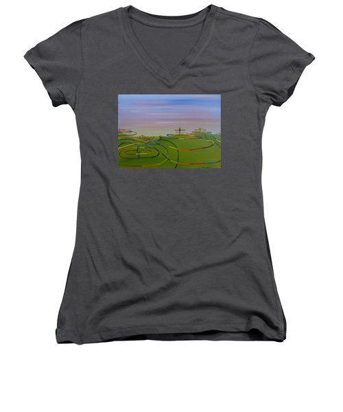 Women's V-Neck T-Shirt (Junior Cut) featuring the painting Ripples Of Life 1.2 by Tim Mullaney