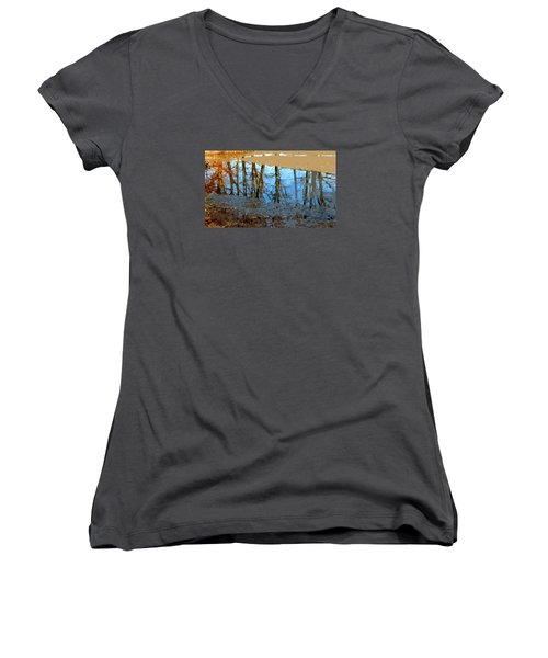 Women's V-Neck T-Shirt (Junior Cut) featuring the photograph Ripples by Spyder Webb