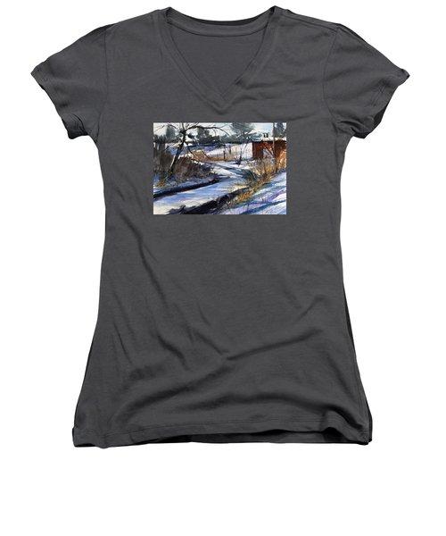 Rippleton Road River Women's V-Neck T-Shirt (Junior Cut) by Judith Levins