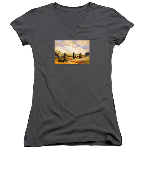 Women's V-Neck T-Shirt (Junior Cut) featuring the painting Rising Heat by Rae Andrews