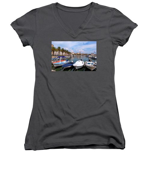 Riva Waterfront, Houses And Cathedral Of Saint Domnius, Dujam, Duje, Bell Tower Old Town, Split, Croatia Women's V-Neck T-Shirt (Junior Cut) by Elenarts - Elena Duvernay photo