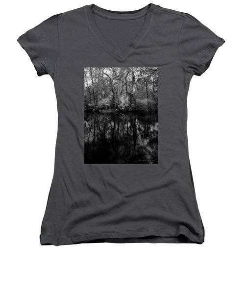 Women's V-Neck T-Shirt (Junior Cut) featuring the photograph River Bank Palmetto by Marvin Spates