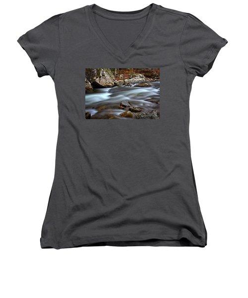 River Magic Women's V-Neck T-Shirt (Junior Cut) by Douglas Stucky