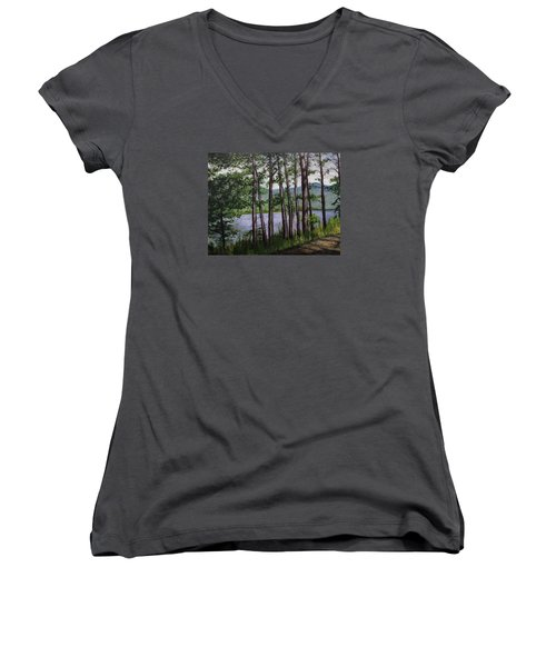 Women's V-Neck T-Shirt (Junior Cut) featuring the painting River Road by Ron Richard Baviello