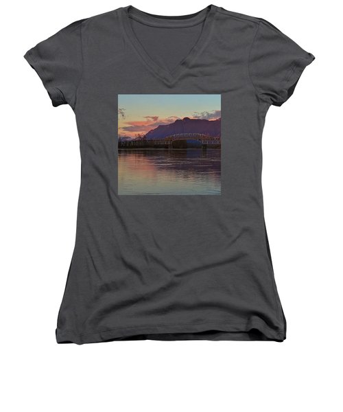 Fraser River, British Columbia Women's V-Neck T-Shirt (Junior Cut) by Heather Vopni