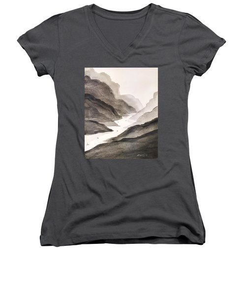 River Running Through Mountains Women's V-Neck T-Shirt (Junior Cut) by Edwin Alverio