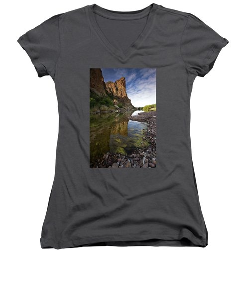 River Serenity Women's V-Neck T-Shirt (Junior Cut) by Sue Cullumber