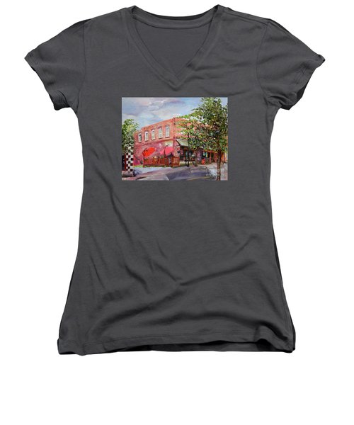 Women's V-Neck T-Shirt featuring the painting River Street Tavern-ellijay, Ga - Cheers by Jan Dappen