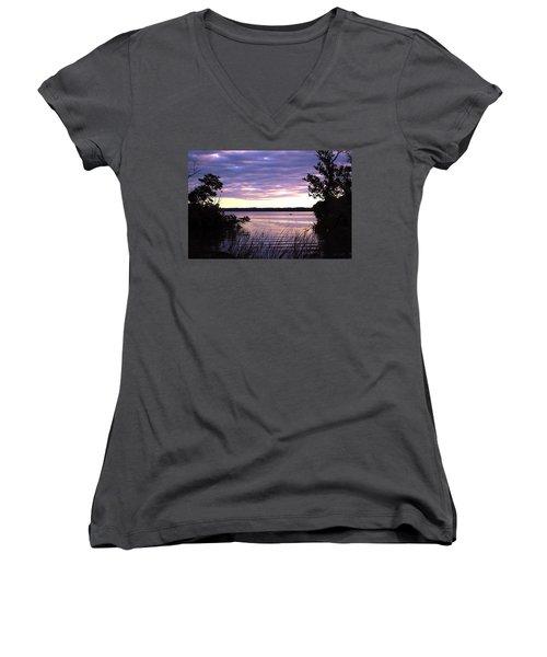 River Sunrise Women's V-Neck