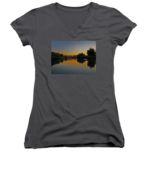 River Sunset Women's V-Neck T-Shirt