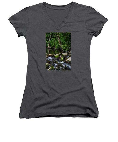 River Tolka Women's V-Neck T-Shirt (Junior Cut) by Martina Fagan