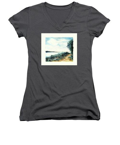 River Walk Women's V-Neck T-Shirt (Junior Cut) by Heidi Kriel