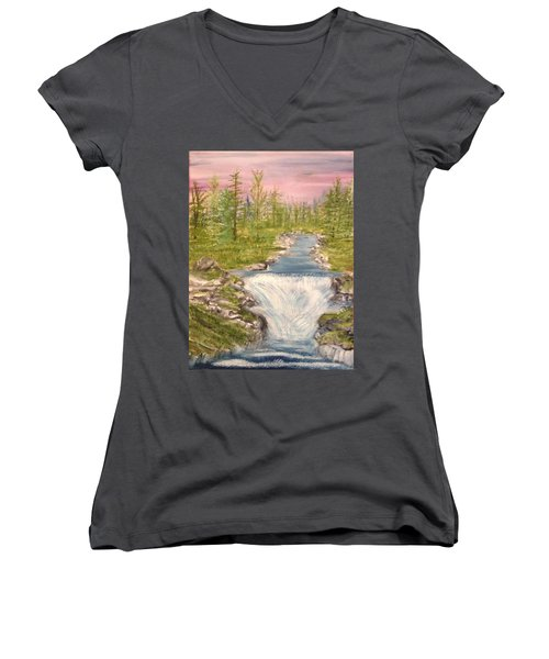 River With Falls Women's V-Neck T-Shirt