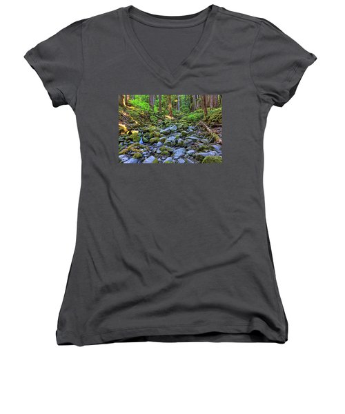 Riverbed Full Of Mossy Stones With Small Cascade Women's V-Neck