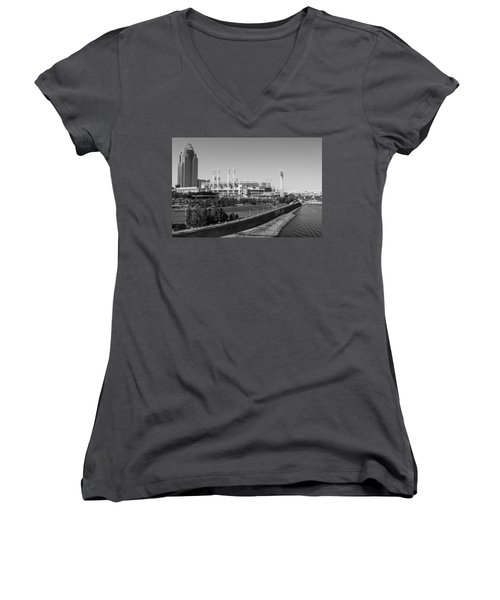 Riverfront Stadium Black And White  Women's V-Neck