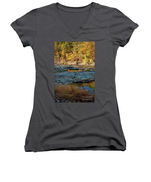 Women's V-Neck T-Shirt (Junior Cut) featuring the photograph Riverside by Iris Greenwell