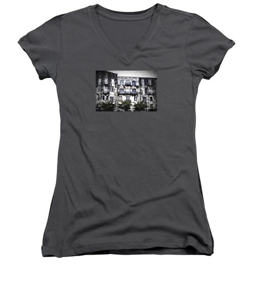 Women's V-Neck T-Shirt (Junior Cut) featuring the photograph Riverview by Judy Wolinsky